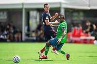 LAKE BUENA VISTA, FL - JULY 14: Boris Sekulic #2 of the Chicago Fire passes the ball during a game between Seattle Sounders FC and Chicago Fire at Wide World of Sports on July 14, 2020 in Lake Buena Vista, Florida.