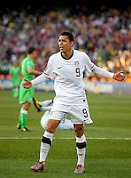 Herculez Gomez. USA defeated Algeria 1-0 in stoppage time in the 2010 FIFA World Cup at Loftus Versfeld Stadium in Pretoria, Sourth Africa, on June 23th, 2010.
