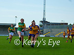 Siofra O'Shea, Kerry in action against Aisling Reidy, Clare in the Lidl Ladies National Football League Division 2A Round 2 at Austin Stack Park, Tralee on Sunday.