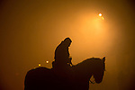 A horse man waits for the beginning of Las Luminarias celebration, as part of a ritual in honor of Saint Anthony the Abbot, the patron saint of domestic animals, in San Bartolome de Pinares, Spain. January 16, 2015. (ALTERPHOTOS/Victor Blanco)