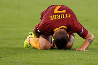 Calcio, Europa League: Roma vs Astra Giurgiu. Roma, stadio Olimpico, 29 settembre 2016.<br /> Roma's Juan Iturbe reacts after being injured during the Europa League Group E soccer match between Roma and Astra Giurgiu at Rome's Olympic stadium, 29 September 2016. Roma won 4-0.<br /> UPDATE IMAGES PRESS/Riccardo De Luca