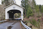 Wendling Covered Bridge, Circa 1938, over Mill Creek in Lane County Oregon.  Nearby Wendling and Marcola, Oregon.