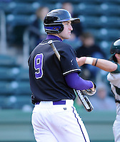 Infielder Alex Abrams (9) of the Furman Paladins in a game against the Michigan State Spartans on February 25, 2012, at Fluor Field in Greenville, South Carolina. (Tom Priddy/Four Seam Images)