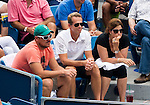 Stefan Edberg and Mirka Federer watch on as Roger Federer (SUI) wins first set 63 during the final of the Western & Southern Open against David Ferrer (ESP) in Mason, OH on August 17, 2014.