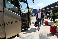 Wednesday 18 September 2013<br /> Pictured: Manager Michael Laudrup arriving at Valencia Airport.<br /> Re: Swansea City FC players and staff travelling to Spain for their UEFA Europa League game against Valencia.