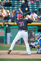 C.J. Cron (31) of the Salt Lake Bees bats against the Iowa Cubs in Pacific Coast League action at Smith's Ballpark on May 13, 2017 in Salt Lake City, Utah. Salt Lake defeated Iowa  5-4. (Stephen Smith/Four Seam Images)