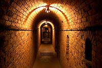 Dark hallway at Castello di Amorosa. Napa Valley, California. Property relased
