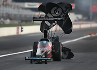 Sep 4, 2020; Clermont, Indiana, United States; NHRA top alcohol dragster driver Megan Meyer during qualifying for the US Nationals at Lucas Oil Raceway. Mandatory Credit: Mark J. Rebilas-USA TODAY Sports