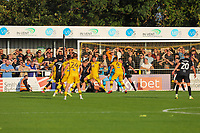 9th October 2021;  VBS Community Stadium, Sutton, London; EFL League 2 football, Sutton United versus Port Vale; Goal mouth scrambles leading to Sutton scoring from Rowe for 4-3 in stoppage time