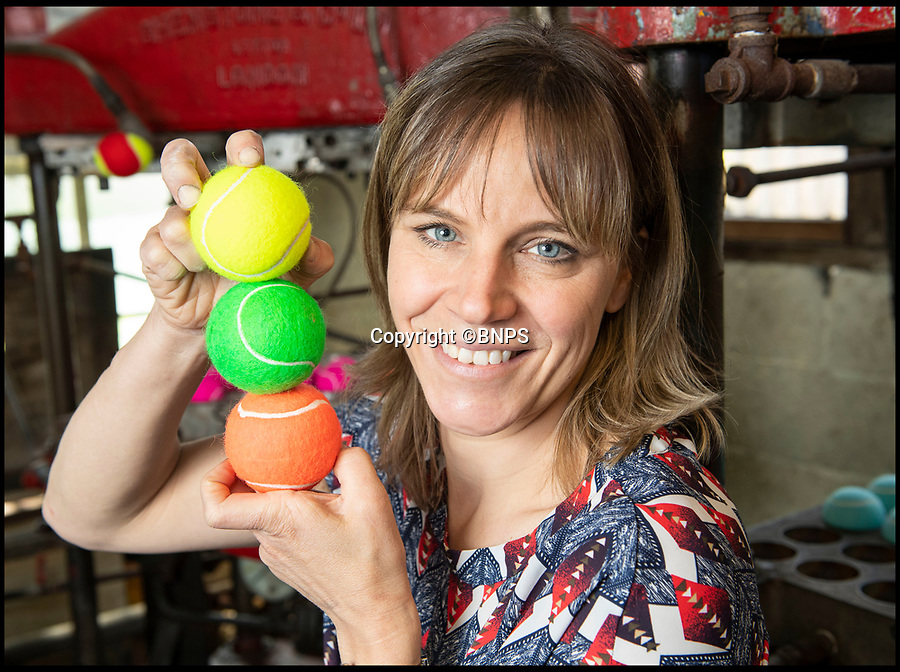 BNPS.co.uk (01202 558833)<br /> Pic: PhilYeomans/BNPS<br /> <br /> Louise Price has boosted sales by over 20 percent by developing niche markets coulourful balls and an online presence.<br /> <br /> Price of Bath was set up by her grandfather Joseph in the 1930's and after WW2 employed 120 people churning out 84,000 balls a week - nowadays it's the last tennis ball maker in the western world, and produces a much more modest 6000 balls a week from raw rubber from Malaysia to finished product.<br /> <br /> Louise's father Derek, who invented the rubber tiles used on nuclear powered submarines as well as running the family business, still works full time in the dickensian factory at the age of 88.