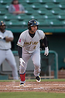Salt Lake Bees third baseman Jose Miguel Fernandez (9) starts down the first base line during a Pacific Coast League game against the Fresno Grizzlies at Chukchansi Park on May 14, 2018 in Fresno, California. Fresno defeated Salt Lake 4-3. (Zachary Lucy/Four Seam Images)