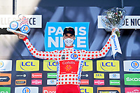 14th March 2021, Levens, France;  PEREZ Anthony (FRA) of Cofidis, Solutions Credits on podium after stage 8 of the 79th edition of the 2021 Paris - Nice cycling race, a stage of 92,7 kms between Plan-du-Var and Levens on March 14, 2021 in Levens, France