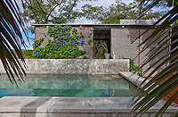 An outdoor swimming pool is faced in concrete slabs and is flanked by a terrace screened with rattan blinds overgrown with Morning Glory