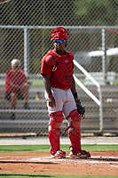 GCL Cardinals catcher Cristhian Longa (41) during a Gulf Coast League game against the GCL Astros on August 11, 2019 at Roger Dean Stadium Complex in Jupiter, Florida.  GCL Cardinals defeated the GCL Astros 2-1.  (Mike Janes/Four Seam Images)