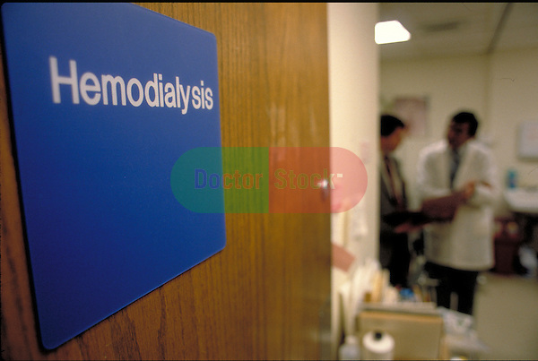 close-up of hemodialysis sign with doctors