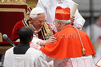 Italian Fernando Filoni Pope Benedict XVI leads the Consistory where he will appoint 22 new cardinals on February 18, 2012 at St Peter's basilica at the Vatican.