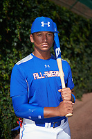 Bo Naylor (12) of St. Joan of Arc High School in Mississauga, Ontario poses for a photo before the Under Armour All-American Game presented by Baseball Factory on July 29, 2017 at Wrigley Field in Chicago, Illinois.  (Mike Janes/Four Seam Images)
