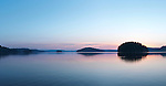 Peaceful panoramic morning twilight nature scenery of Mary Lake, Port Sydney, Muskoka, Ontario, Canada.