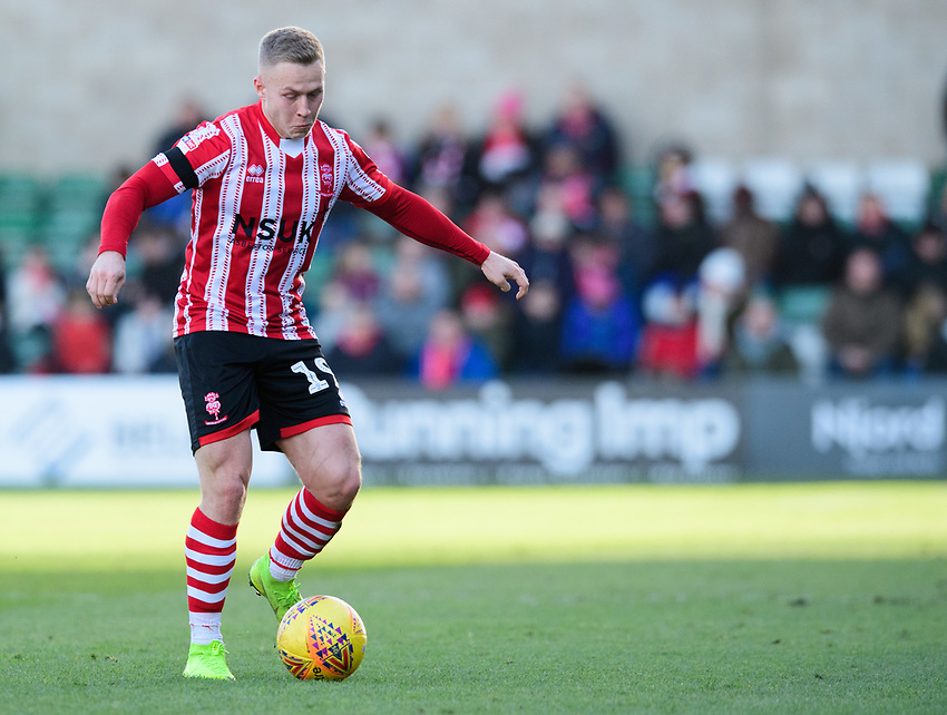 Lincoln City's Danny Rowe<br /> <br /> Photographer Chris Vaughan/CameraSport<br /> <br /> The EFL Sky Bet League Two - Lincoln City v Northampton Town - Saturday 9th February 2019 - Sincil Bank - Lincoln<br /> <br /> World Copyright © 2019 CameraSport. All rights reserved. 43 Linden Ave. Countesthorpe. Leicester. England. LE8 5PG - Tel: +44 (0) 116 277 4147 - admin@camerasport.com - www.camerasport.com