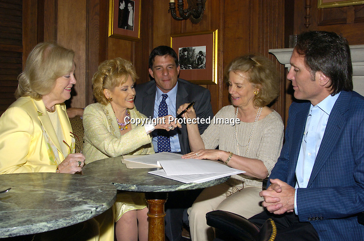 Mickey Dwyer-Dobbin, Eileen Fulton,Eileen' s lawyer Marc Jacobson, Susan Savage and Chris Goutman..at The Friar's Club for the signing of Eileen Fulton's new contract with As The World Turns on June 14, 2005 . She has been on the show for 45 yuears...Photo by Robin Platzer, Twin Images