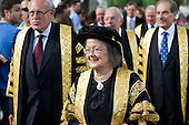 Baroness Hale and other Justices of The Supreme Court walk to Westminster Abbey for a service to mark the inauguration of the new Supreme Court.