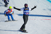 13th February 2021; Idre Fjall, Sweden;  Belle Brockhoff of Team Australia 1 celebrates after the FIS Snowboard Cross mixed team World Championships final in Idre Fjall, Sweden