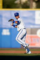 Dunedin Blue Jays shortstop J.C. Cardenas (2) throws to first base during a game against the Clearwater Threshers on April 8, 2017 at Florida Auto Exchange Stadium in Dunedin, Florida.  Dunedin defeated Clearwater 12-6.  (Mike Janes/Four Seam Images)