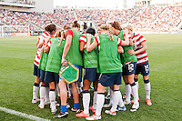 United States (USA) players huddle before the start of the match. The United States (USA) women defeated China PR (CHN) 4-1 during an international friendly at PPL Park in Chester, PA, on May 27, 2012.