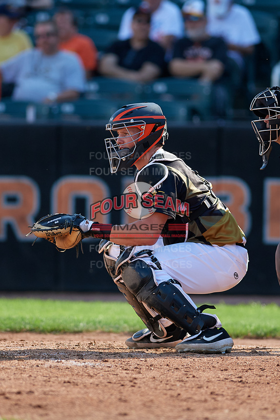 Aberdeen IronBirds catcher Adley Rutschman (35) during a NY-Penn League game against the Vermont Lake Monsters on August 18, 2019 at Leidos Field at Ripken Stadium in Aberdeen, Maryland.  Vermont defeated Aberdeen 6-5.  (Mike Janes/Four Seam Images)