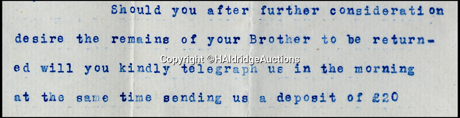 BNPS.co.uk (01202 558833)<br /> Pic: HAldridgeAuctions/BNPS<br /> <br /> The incriminating paragraph from the letter asking for £20 deposit.<br /> <br /> A shocking letter revealing the owners of the Titanic demanded huge sum's of money from the bereaved relatives to return the bodies of its dead crew has come to light on the 103rd anniversary of the disaster.<br /> <br /> The astonishing demands have emerged for the first time since the tragedy in a never-seen-before letter from bosses at White Star Line to the grieving family of James Moody, Titanic's sixth officer.<br /> <br /> Moody, 24, was among the 1,500 crew and passengers that perished when the ship sank after hitting an iceberg in the Atlantic on April 14 1912, two days into her maiden voyage.<br /> <br /> In the sensational letter written less than a month after the sinking, his brother Christopher was told his body could be transported from New York back to his home town of Scarborough at a cost of £20 - more than £2,000 in today's money.<br /> <br /> Experts say the two-page letter could make £25,000 when it goes under the hammer at Henry Aldridge and Son of Devizes, Wilts.