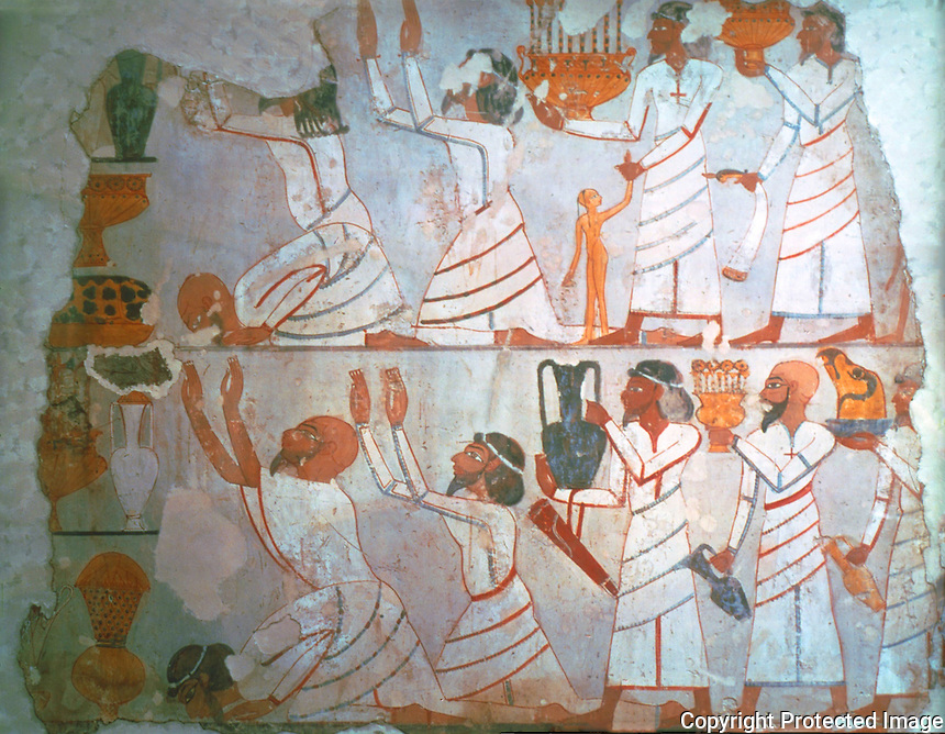 Egyptian Tomb Paintings:  Asiatic Tribute-bearers, c. 1400 BC.  Trustees of the British Museum.  Reference only.