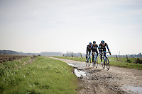 Ian Stannard (GBR/Sky), Andrew Fenn (GBR/SKY) & Bernie Eisel (AUT/SKY) riding over the infamous Roubaix cobbles<br /> <br /> 2015 Paris-Roubaix recon with Team SKY