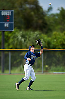 GCL Rays right fielder Jake Stone (8) settles under a fly ball during the first game of a doubleheader against the GCL Twins on July 18, 2017 at Charlotte Sports Park in Port Charlotte, Florida.  GCL Twins defeated the GCL Rays 11-5 in a continuation of a game that was suspended on July 17th at CenturyLink Sports Complex in Fort Myers, Florida due to inclement weather.  (Mike Janes/Four Seam Images)