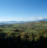 The stunning view across the Tuscan countryside from a 1960s converted schoolhouse