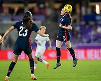 ORLANDO, FL - FEBRUARY 24: Rose Lavelle #16 of the USWNT heads the ball during a game between Argentina and USWNT at Exploria Stadium on February 24, 2021 in Orlando, Florida.