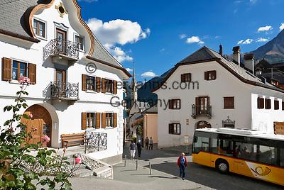 Schweiz, Graubuenden, Unterengadin, Bergdorf Sent: Ortszentrum   Switzerland, Graubuenden, Lower Engadin, mountain village Sent: centre