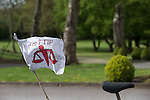 © Joel Goodman - 07973 332324 . 01/05/2015 . Manchester , UK . No TTIP flag on the back of a bicycle ahead of a Liberal Democrat party rally at Chorlton-cum-Hardy Golf Club . Liberal Democrat party leader Nick Clegg visits the constituency of Manchester Withington to deliver a speech on the NHS and campaign with local candidate John Leech . Photo credit : Joel Goodman