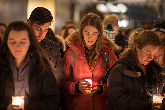 """January 15, 2018; The University of Notre Dame observes Martin Luther King Jr. Day with a candlelight prayer service in the Main Building. The event also marked the beginning of """"Walk the Walk"""" week, a series of events and observances to celebrate and reflect on diversity and inclusiveness. (Photo by Barbara Johnston/University of Notre Dame)"""