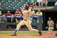 Drew Mendoza (22) of the Florida State Seminoles follows through on his second home run of the game against the North Carolina Tar Heels during the 2017 ACC Baseball Championship Game at Louisville Slugger Field on May 28, 2017 in Louisville, Kentucky.  The Seminoles defeated the Tar Heels 7-3.  (Brian Westerholt/Four Seam Images)