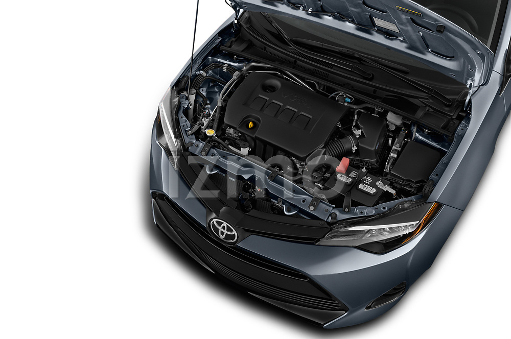 Car stock 2018 Toyota Corolla L 4 Door Sedan engine high angle detail view