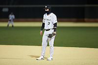 Wake Forest Demon Deacons first baseman Bobby Seymour (3) on defense against the Louisville Cardinals at David F. Couch Ballpark on March 6, 2020 in  Winston-Salem, North Carolina. The Cardinals defeated the Demon Deacons 4-1. (Brian Westerholt/Four Seam Images)