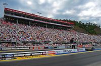 Jun. 17, 2011; Bristol, TN, USA: NHRA fans fill the grandstands during qualifying for the Thunder Valley Nationals at Bristol Dragway. Mandatory Credit: Mark J. Rebilas-