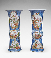 BNPS.co.uk (01202 558833)<br /> Pic: Sotheby's/BNPS<br /> <br /> Pictured: An extremely rare pair of Meissen Augustus Rex underglaze-blue-ground beaker vases has sold for £901,000.<br /> <br /> A stunning collection of German porcelain that was found by the so-called Monuments Men before it could be destroyed by the Nazis has sold 76 years later for over £10m.<br /> <br /> The hoard of Meissen antiques that was seized by the Third Reich during the Second World War was discovered in a salt mine in Austria in 1945.<br /> <br /> It had been amassed years earlier by German-Jewish industrialist Dr Franz Oppenheimer and his wife Margarethe.