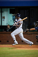 Pensacola Blue Wahoos right fielder Aristides Aquino (2) follows through on a swing during a game against the Mobile BayBears on April 25, 2017 at Hank Aaron Stadium in Mobile, Alabama.  Mobile defeated Pensacola 3-0.  (Mike Janes/Four Seam Images)