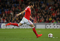 Gareth Bale of Wales takes a free kick during the 2018 FIFA World Cup Qualifier between Wales and Serbia at the Cardiff City Stadium, Wales, UK. Saturday 12 November 2016