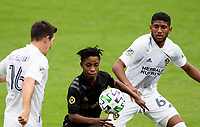 LOS ANGELES, CA - OCTOBER 25: Latif Blessing #7 of LAFC moves with the ball during a game between Los Angeles Galaxy and Los Angeles FC at Banc of California Stadium on October 25, 2020 in Los Angeles, California.