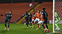 Leeds United's  Cody Drameh scores Blackpool's 2nd goal<br /> <br /> Photographer Dave Howarth/CameraSport<br /> <br /> EFL Trophy - Northern Section - Group G - Blackpool v Leeds United U21 - Wednesday 11th November 2020 - Bloomfield Road - Blackpool<br />  <br /> World Copyright © 2020 CameraSport. All rights reserved. 43 Linden Ave. Countesthorpe. Leicester. England. LE8 5PG - Tel: +44 (0) 116 277 4147 - admin@camerasport.com - www.camerasport.com