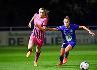 Estelle Dessilly (13 Charleroi) pictured in a duel with Chloe Vande Velde (10 Gent) during a female soccer game between  AA Gent Ladies and Sporting Charleroi Feminin on the fifth matchday of the 2020 - 2021 season of Belgian Scooore Womens Super League , friday 16 th of October 2020  in Oostakker , Belgium . PHOTO SPORTPIX.BE | SPP | DAVID CATRY