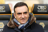 Swansea manager Carlos Carvalhal sits in the dug out during the Emirates FA Cup match between Wolverhampton Wanderers and Swansea City at The Molineux Stadium, Wolverhampton, England, UK. Saturday 06 January 2018