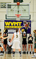 5 December 2009: University of Vermont Catamount guard Courtnay Pilypaitis, a Senior from Ottawa, Ontario, throws a foul shot against the Manhattan College Jaspers at Patrick Gymnasium in Burlington, Vermont. The Catamounts defeated the visiting Jaspers 78-59 to mark the Lady Cats' second home win of the season. Mandatory Credit: Ed Wolfstein Photo